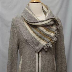 Free People gray scarf collar wool sweater jacket